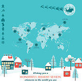 Christmas Card Infographic With World Map