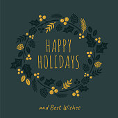 Christmas Card with wreath. Black background. - Illustration