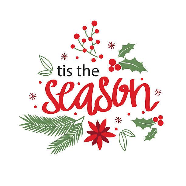 stockillustraties, clipart, cartoons en iconen met christmas card with wreath design - kerstster