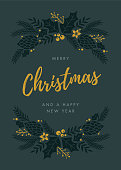 Christmas Card with wreath. - Illustration