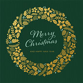 Christmas card with wreath - Illustration