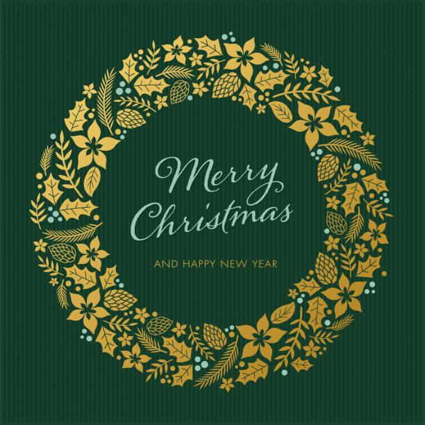 bildbanksillustrationer, clip art samt tecknat material och ikoner med julkort med krans - christmas decoration golden star