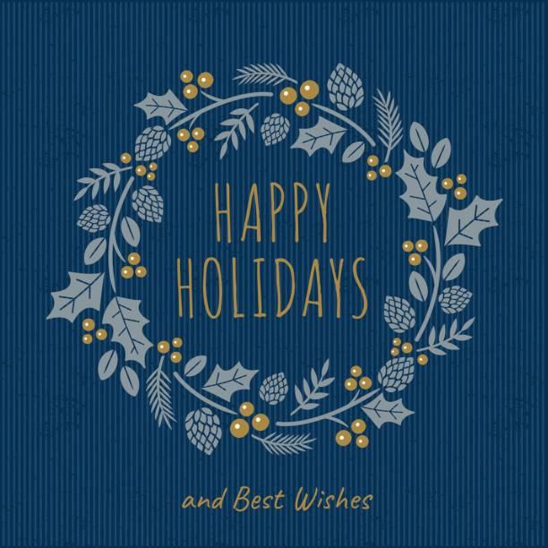 花輪のクリスマス カード - ホリデーシーズンと季節のフレーム点のイラスト素材/クリップアート素材/マンガ素材/アイコン素材