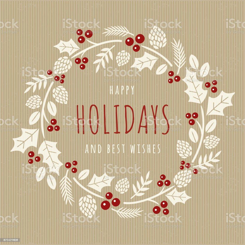 Cartão de Natal com coroa de flores. - ilustração de arte em vetor