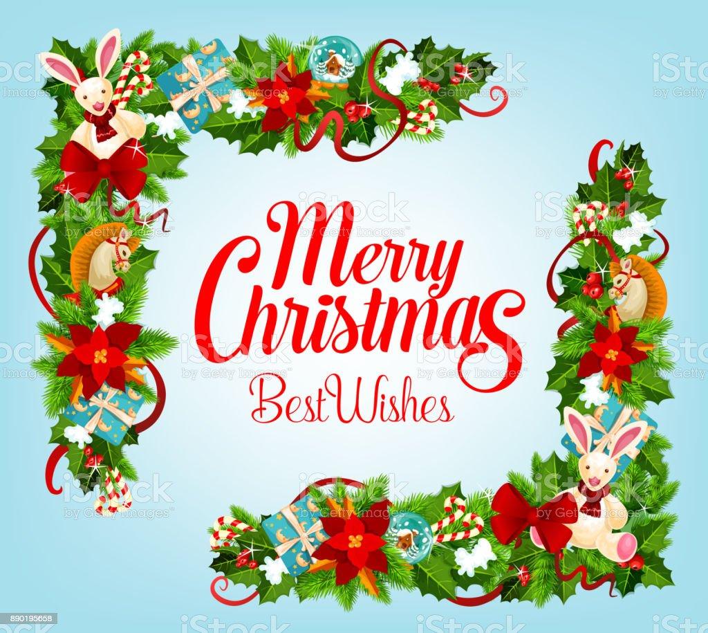 Christmas Card With Xmas Tree Gift Frame Corner Stock Vector Art ...