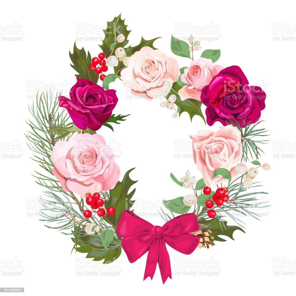 Carte De Noel Guirlande De Fleurs Autour De Cadre Rouge Roses Roses