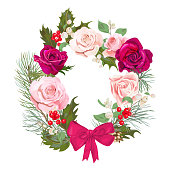 Christmas card, wreath of flowers. Round frame with red, pink roses, pine branches, cones, holly berry, common snowberry. Vintage background, digital draw illustration, template, vector