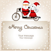 Christmas card. Year of the rat. Santa Claus and Christmas mouse on a bicycle. Funny postcard with Santa and  Christmas mouse. Vector Illustration