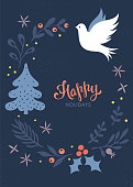 Christmas greeting card. Winter holidays design. Dove. Vector illustration.