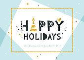 Happy Holidays and Merry Christmas background. Greeting card with bold typographic design, golden glitter frame and elements. Horizontal template. Contemporary geometric background. Vector illustration. Blue and black.