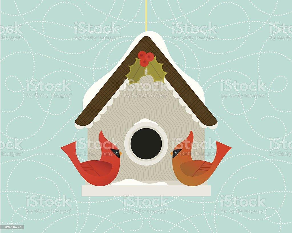 Christmas Cardinal Birdhouse royalty-free christmas cardinal birdhouse stock vector art & more images of animal