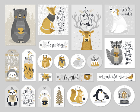 Christmas cards and gift tags set, hand drawn style. clipart