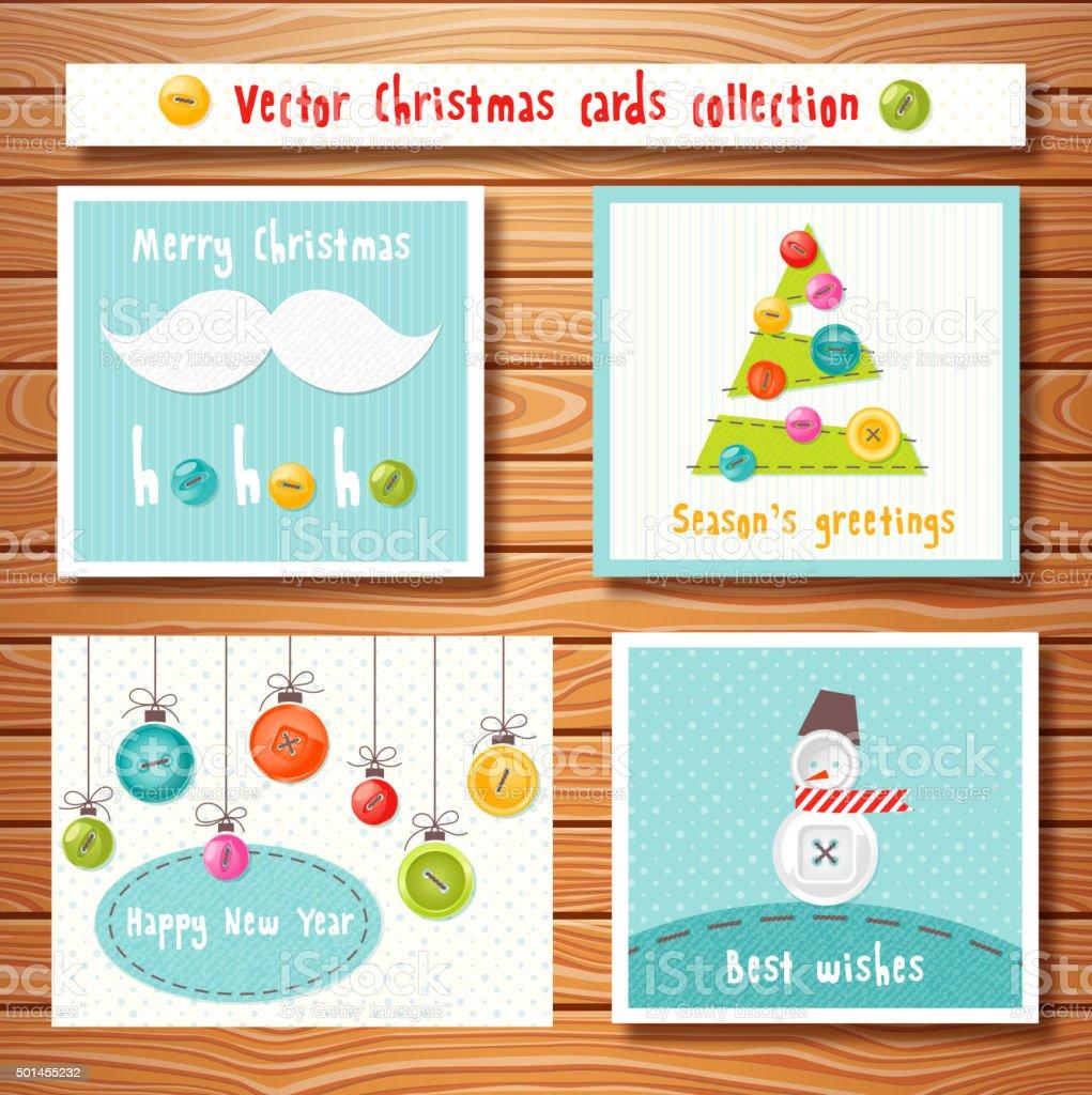 Weihnachtskarten Mit Knöpfen.Weihnachtskartenkollektion Mit Niedlichen Knöpfen Perfekt Für