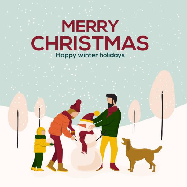 ilustrações de stock, clip art, desenhos animados e ícones de christmas cards design flat illustration 3 - family christmas
