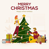 Young man and woman decorating Christmas tree with baubles and ornaments. Happy family or group of friends preparing for holiday celebration. Vector Illustration