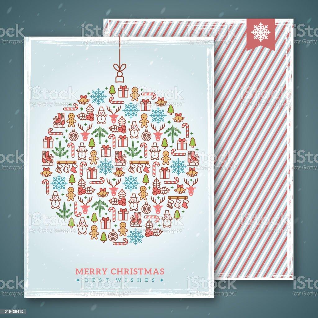 Weihnachtskartendesign Vektorillustration Neues Jahr Gruß Wecken ...