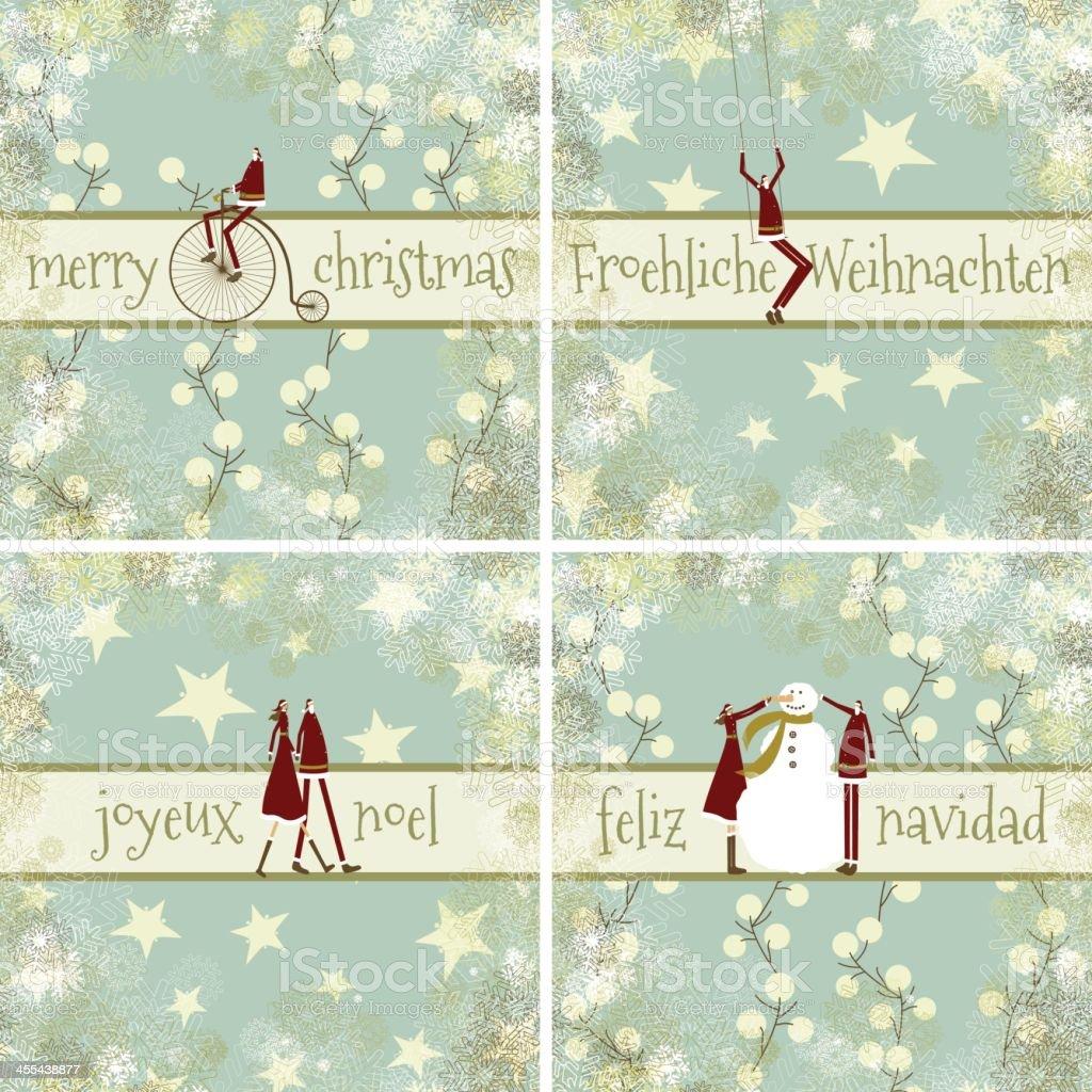 Christmas Cards English French German And Spanish Stock Vector Art ...