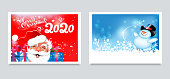 Christmas cards for your design. Two cute images: happy Santa Claus with gifts on a red background and a merry snowman on a blue background. Template for holiday design: banners, posters, invitations. Vector image