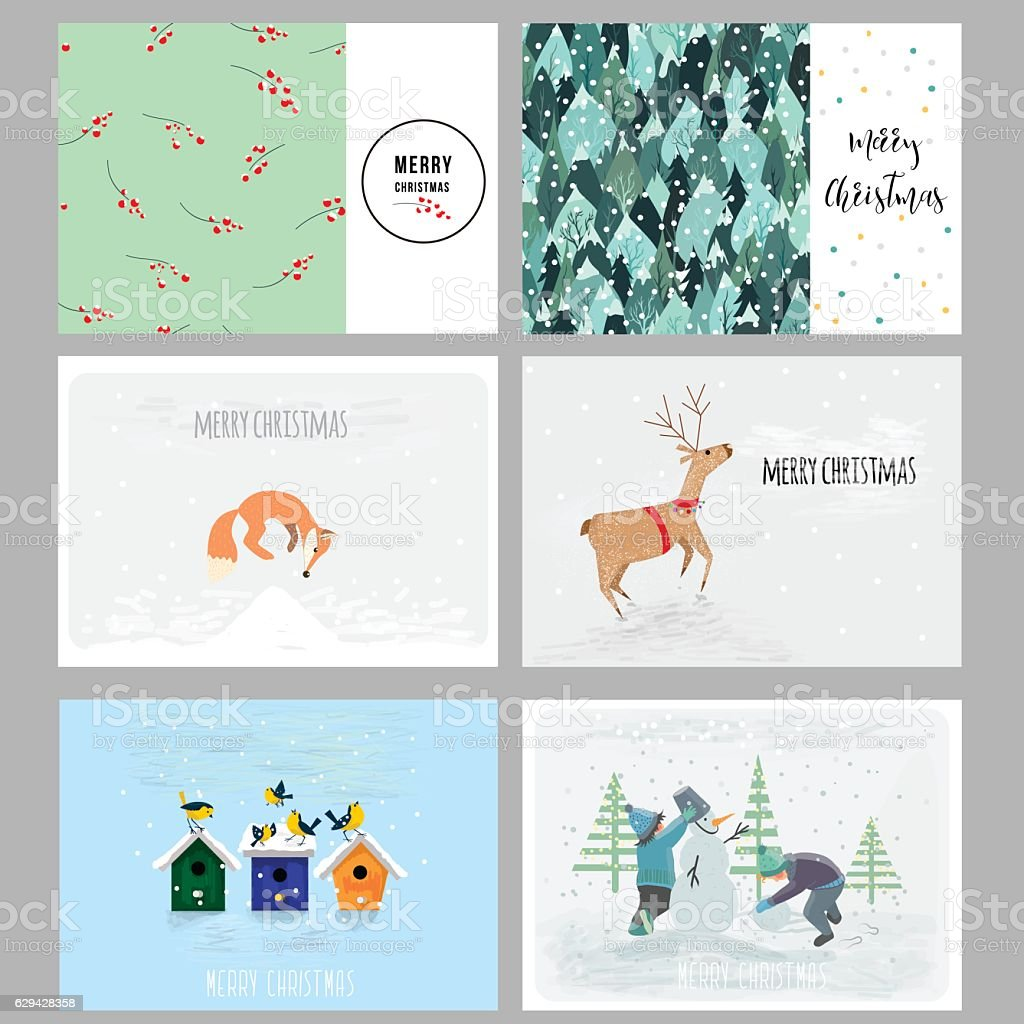 Christmas cards. Hand drawn elements, patterns and cute characters. Vector vector art illustration