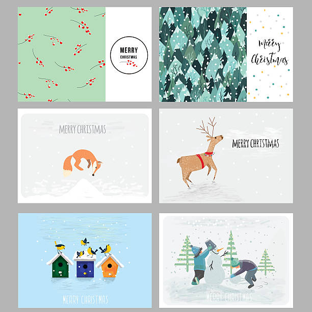 christmas cards. hand drawn elements, patterns and cute characters. vector - weihnachtskarten stock-grafiken, -clipart, -cartoons und -symbole
