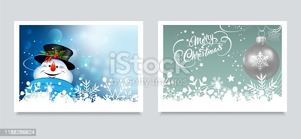 istock Christmas cards. Happy snowman on a blue background and Christmas silver ball on a snow background. Two templates for design: New Year's pictures, banners, posters 1188286624