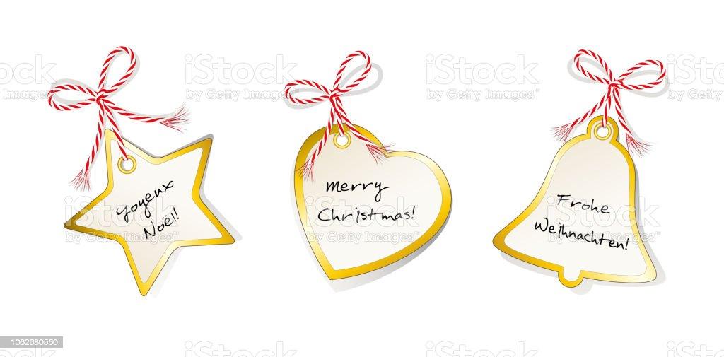 Weihnachtskarten Set Günstig.Weihnachtskarten Set Sterne Herzen Und Glocke Mit Grüße In Deutsch