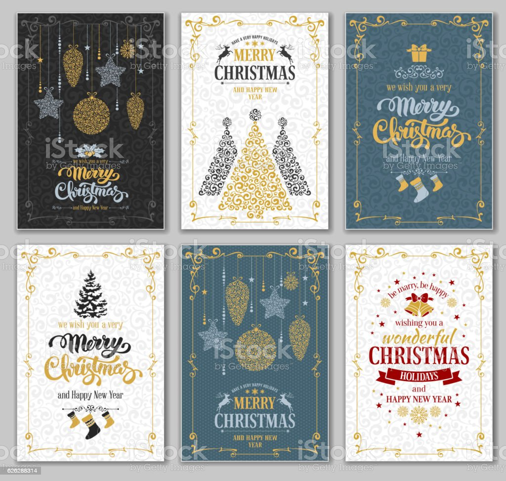Christmas cards set vector art illustration
