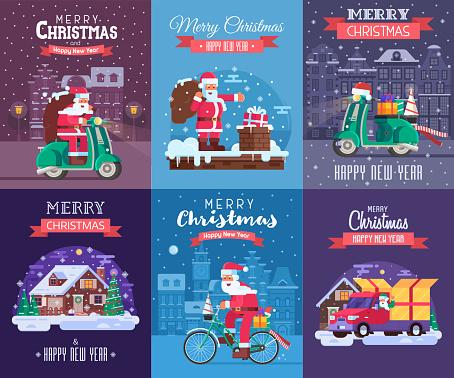 Christmas Cards Set with Santa Delivering
