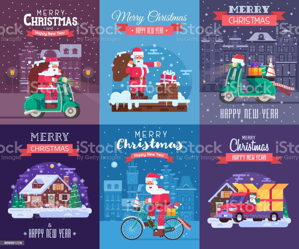 Conjunto de cartões de Natal com Papai Noel entregar - ilustração de arte em vetor