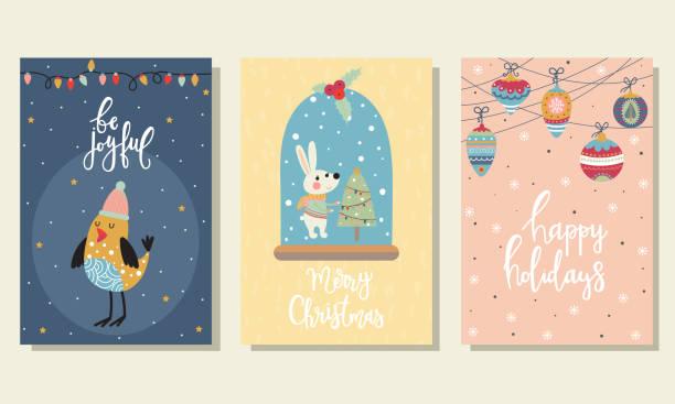 3 weihnachtskarten - wunschkinder stock-grafiken, -clipart, -cartoons und -symbole