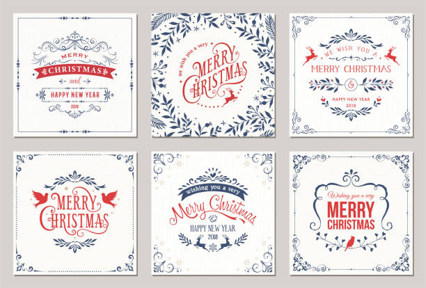 christmas cards - retro and vintage frames stock illustrations, clip art, cartoons, & icons
