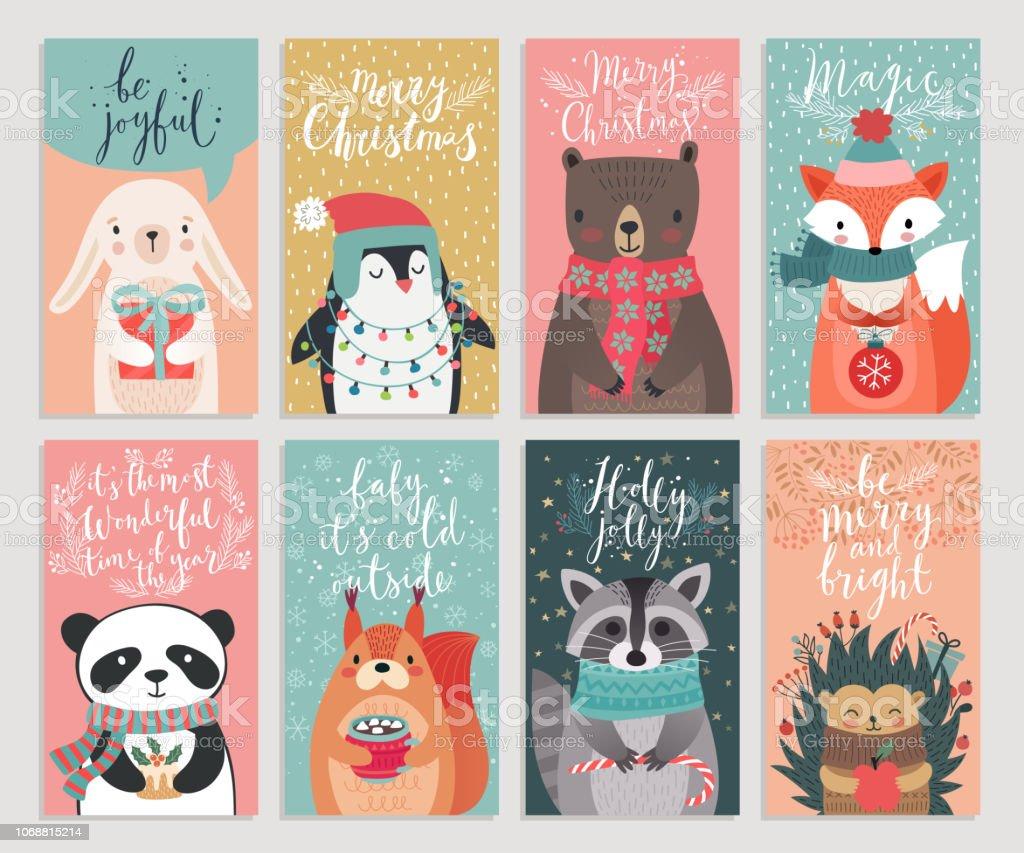 Weihnachtskarten mit Tieren, hand gezeichnete Stil. - Lizenzfrei 2019 Vektorgrafik