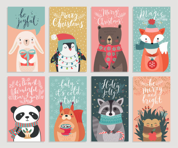 christmas cards with animals, hand drawn style. - cute stock illustrations