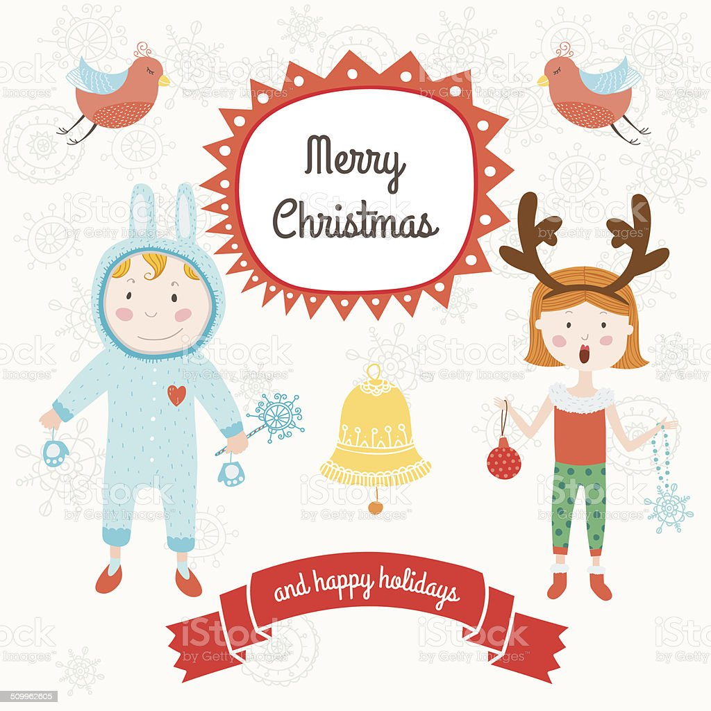 Christmas Cards With Kids And Birds Stock Illustration Download Image Now Istock