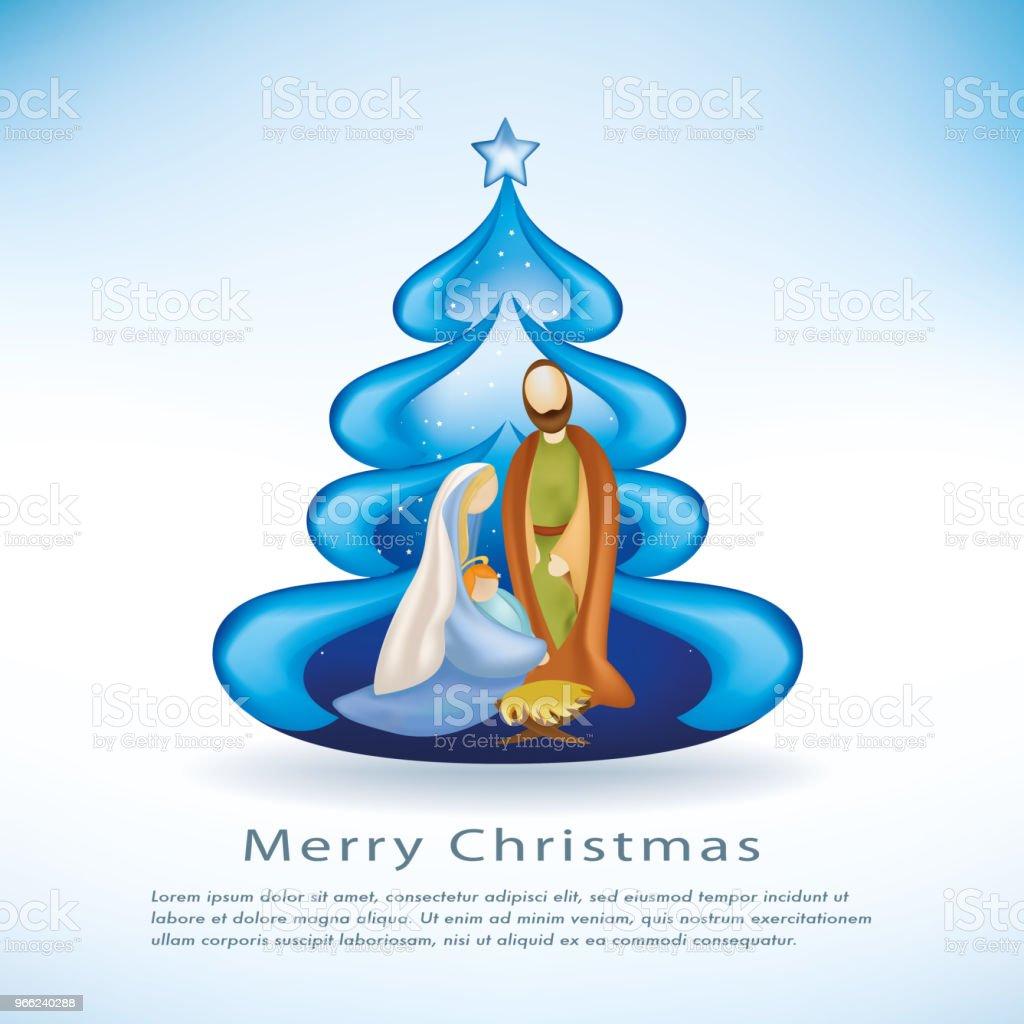 Christmas Cards With Nativity Scene Christmas Tree On Blue ...