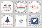 Ornate square winter holidays greeting cards with New Year tree, reindeers, Christmas ornaments, Peace Dove, snowflake, typographic design, swirl and floral frames. Vector illustration.