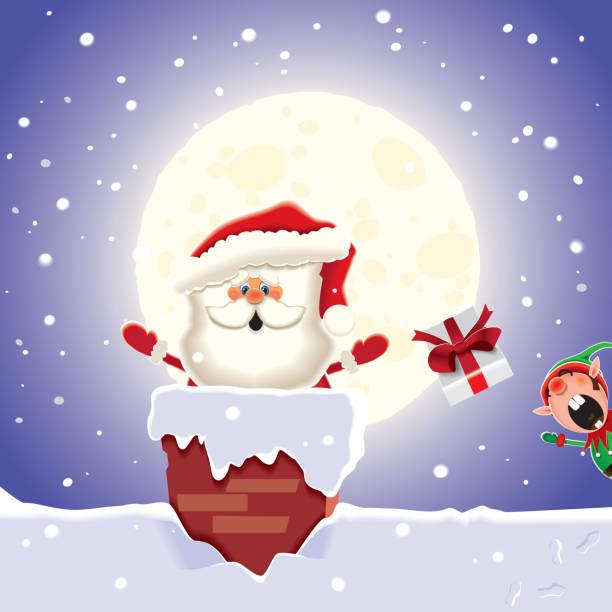 weihnachtskarte-der elf fügt geschenke an den weihnachtsmann, die, die sie durch den schornstein trennt. vektor-illustration für weihnachtsgruß. - kaminverkleidungen stock-grafiken, -clipart, -cartoons und -symbole