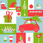 Christmas card. Christmas vector background with snowman and  car.Vector illustration.