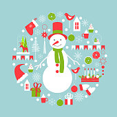 Christmas card with snowman. Vector illustration.