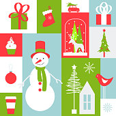Christmas card. Christmas vector background with snowman .Vector illustration.