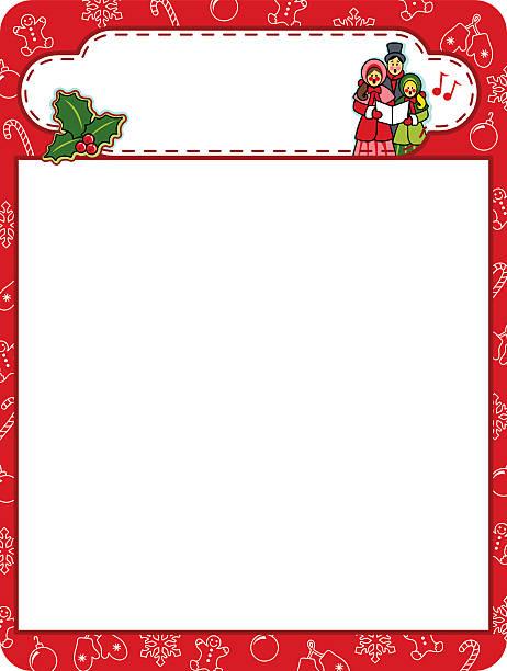 Christmas carol holiday frame border vector art illustration
