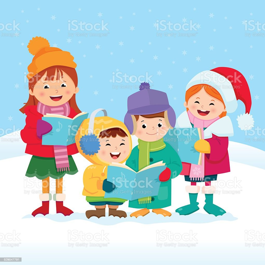 Christmas Carol Singers vector art illustration