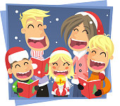 Happy family singing Christmas Carol songs on a snowy Christmas night. With Parents and their three children dressed up with Santa´s hat and their Carol Singing Books. Vector illustration cartoon.