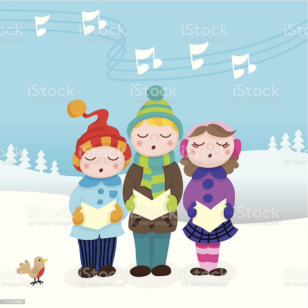 Christmas carolers cute kids vector art illustration