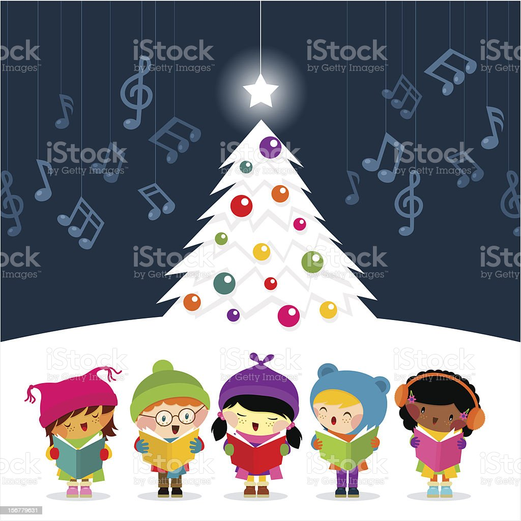 christmas carolers sing vector art illustration