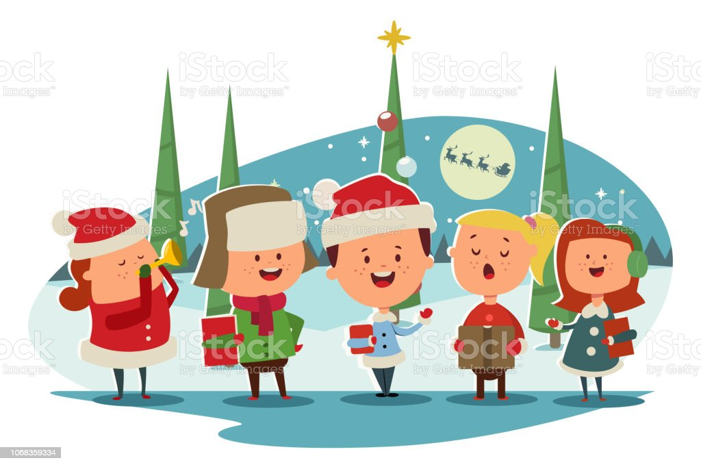 Christmas Caroling.Christmas Caroling Cute Children Choir Singing Carols Vector