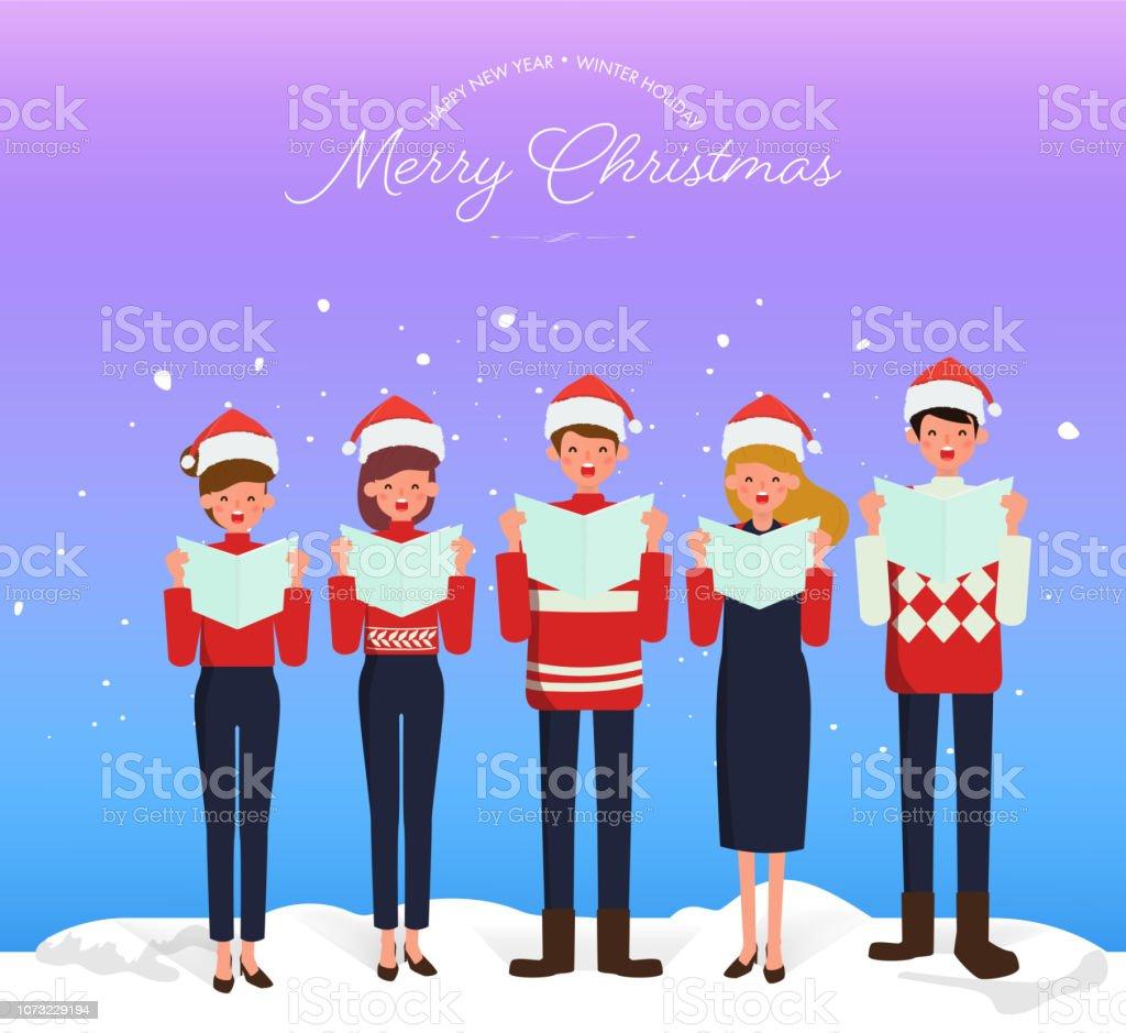 Christmas Caroling Images.Christmas Caroling Teenage Choir Singing Carols Merry Christmas