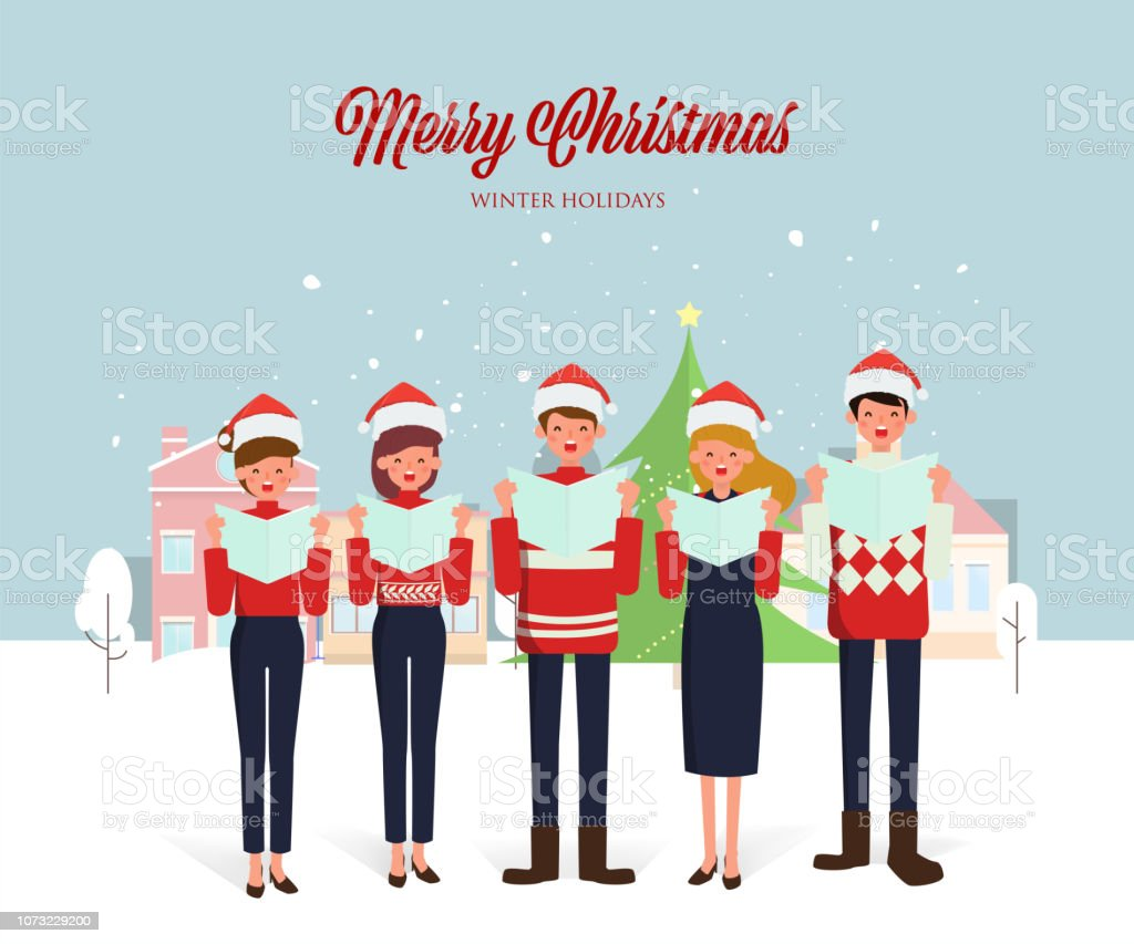 Christmas Singin.Christmas Caroling Teenage Choir Singing Carols Merry Christmas Greeting On City Background With Snow Stock Illustration Download Image Now