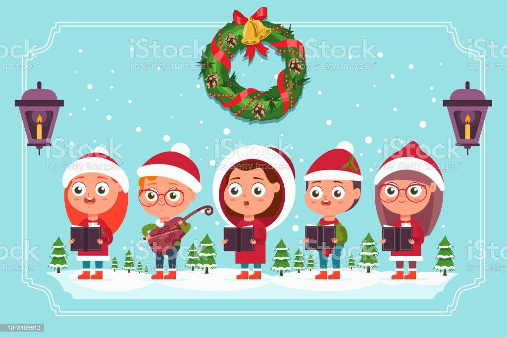 クリスマスキャロルヴァイオリンと本サンタ帽子でかわいい子供合唱団