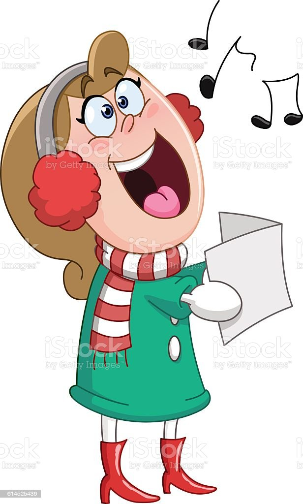 Christmas carols woman vector art illustration